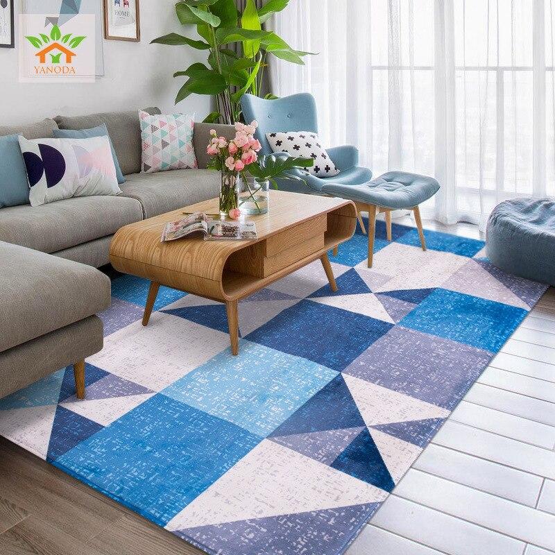 Grande Taille Style Nordique Tapis Pour Salon Géométrique Treillis Tapis Table Basse Brève Tapis Enfants Tapis de Jeu alfombra