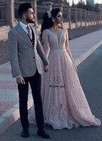 Romantic Tulle Beading Wedding Dresses Pink Color vestido de noiva Sexy Deep V neck Sleeveless Bride Dress