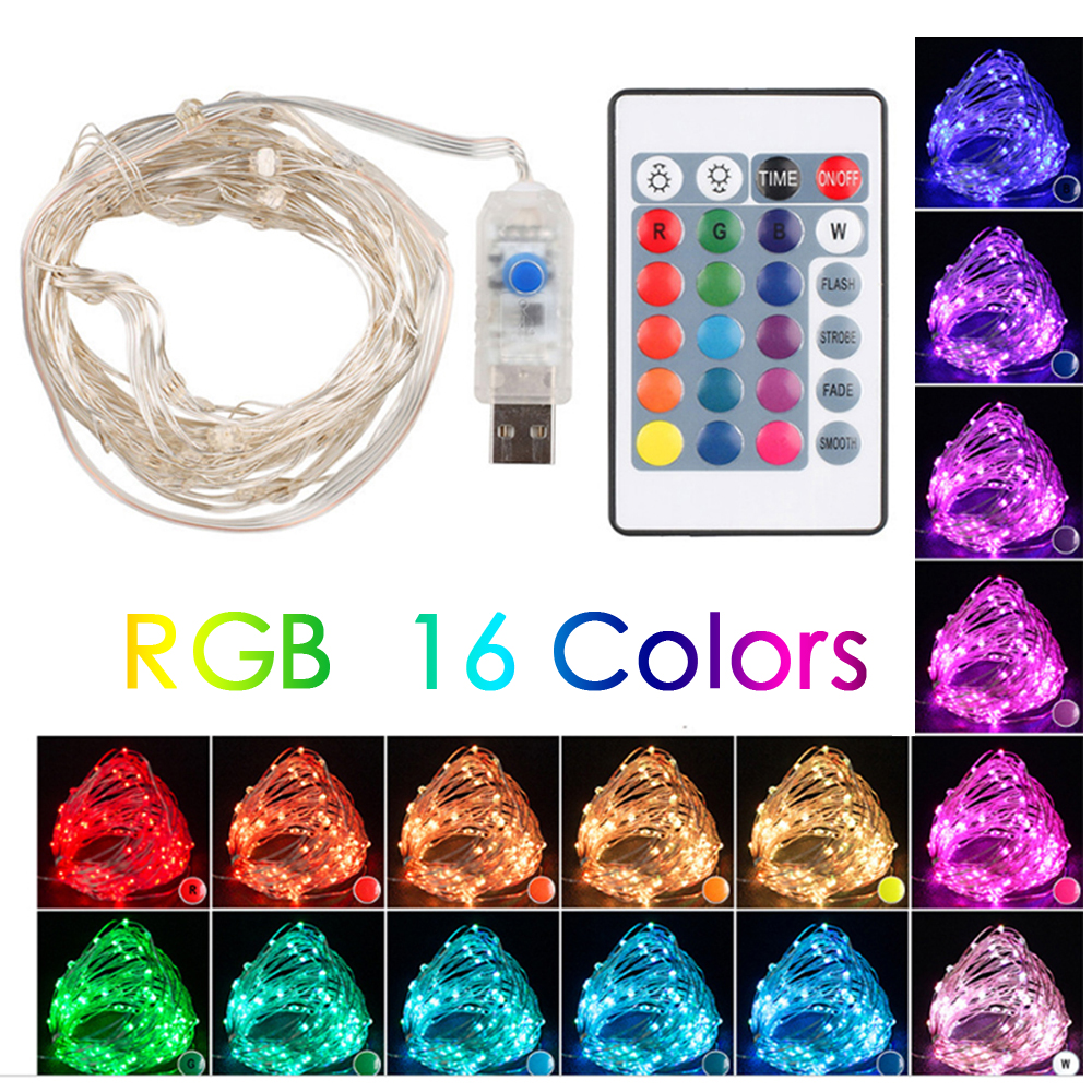 Remote LED String Lights 5M Copper Wire Garland Home Christmas Wedding Party Decoration Powered By 3 V Battery USB Fairy Light