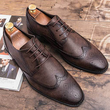 Genuine Leather Men Casual Shoes Loafers Brown Male Plus Size 45-47 Classic Brogue For Hollow Formal Shoe