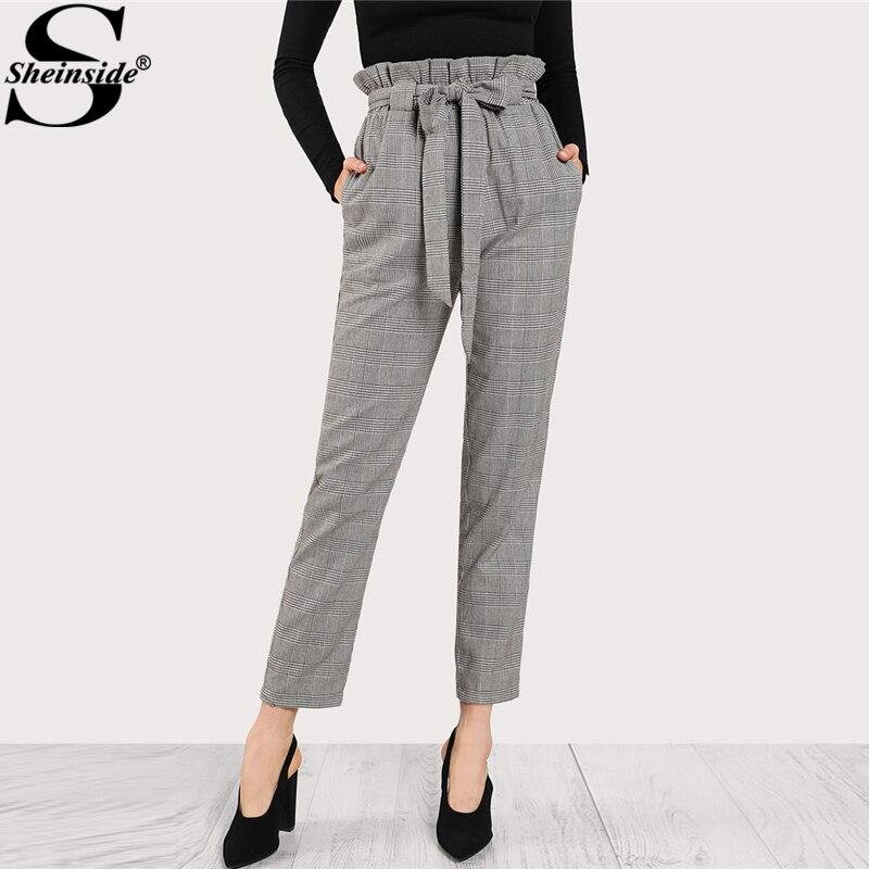 Sheinside 2018 High Waist Tapered Pants Elastic Waist Frilled Tie Waist Belt Plaid Pants Women -6007