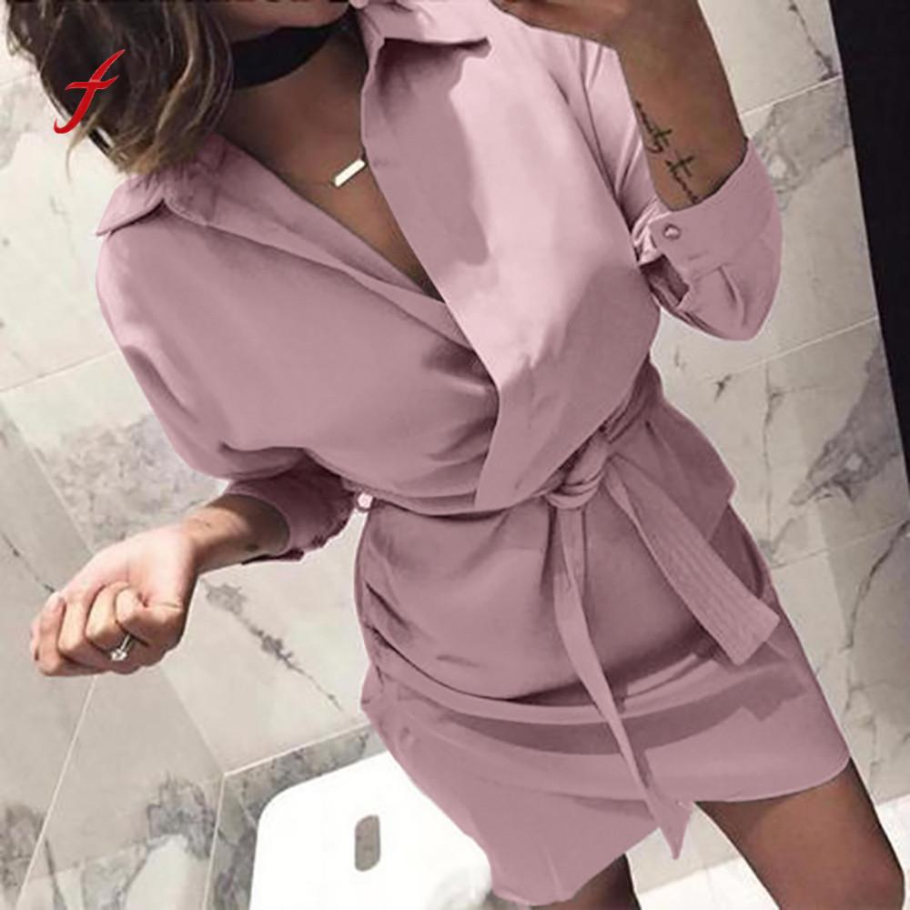 Hemd Kleid 2018 Frauen Herbst Kleid Lange Hülse Drehen-Unten Kragen Casual T Shirt Kleid 4 Farbe Lässige Mini büro Kleid