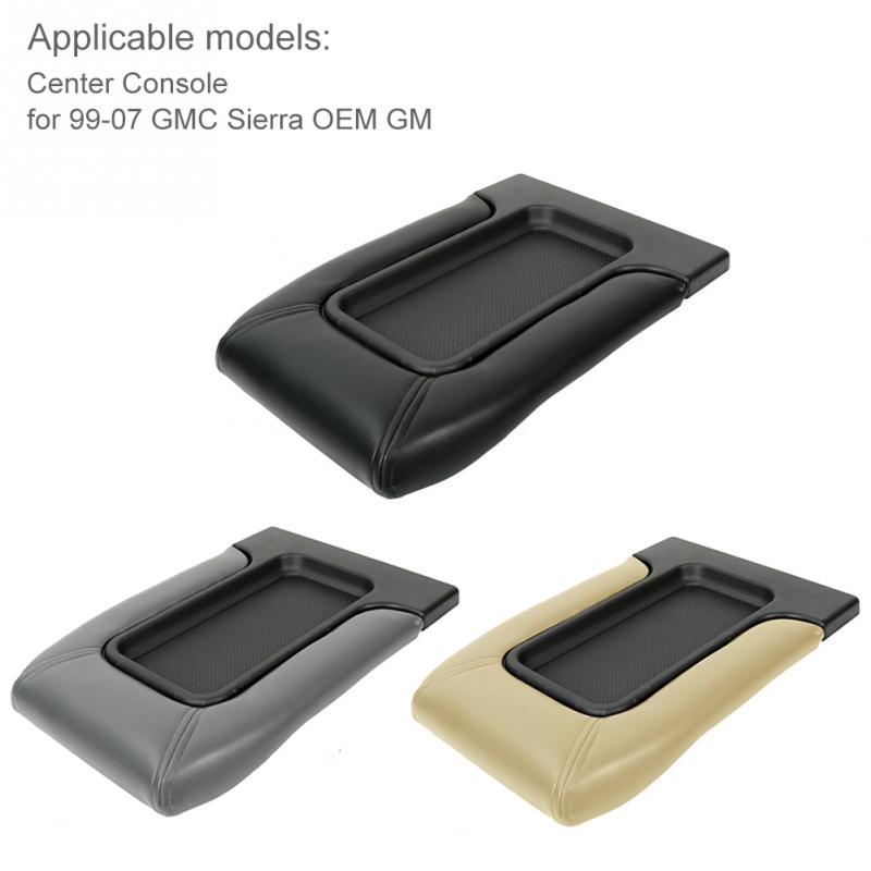 Leather+PP Car Armrest Latch Cover For Chevy Tahoe Silverado 99-07 Center Console Arm Rest Storage Box Lid Pad Auto Accessories
