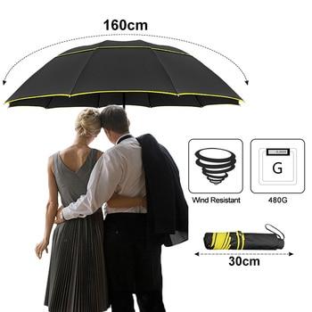 130CM Double Laye Umbrella Rain Women 3Folding  Strong Windproof Large Umbrella Men Quality Black Coating 10K Portable Umbrellas