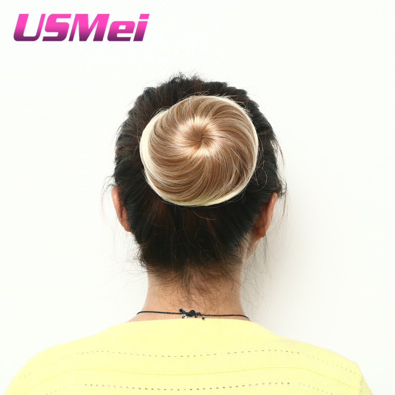 Usmei Women's Elastic Net Curly Chignon With Two Plastic Combs Updo Cover Synthetic Hair Extensions Elastic String Hair Bundle