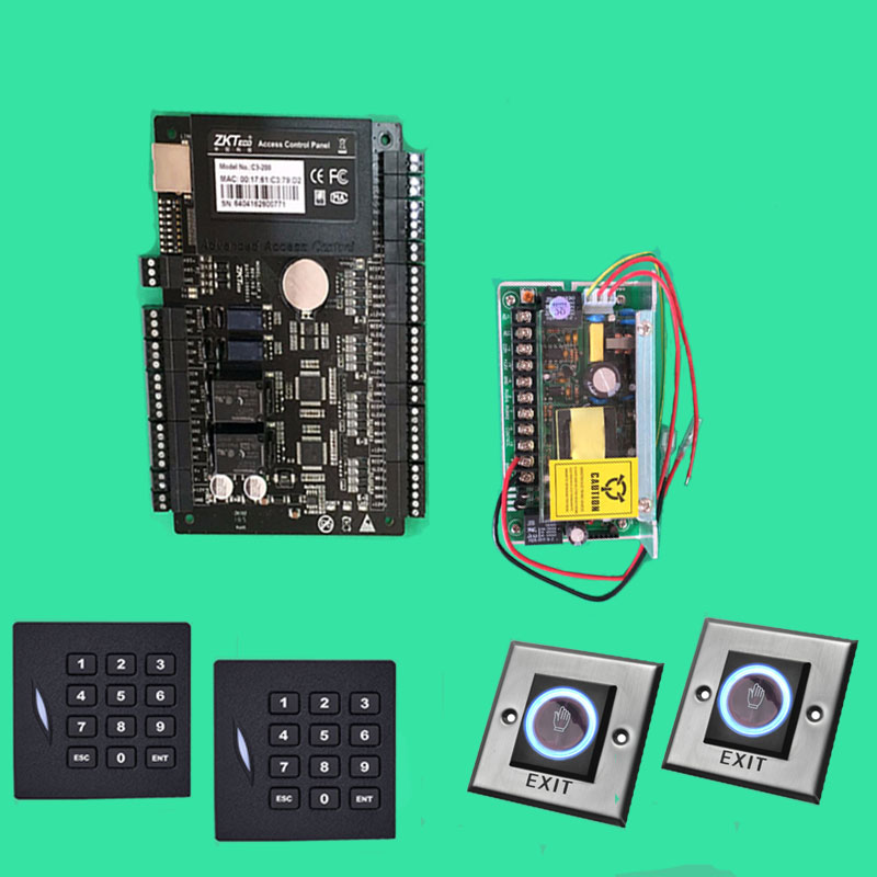 C3 200 Access Control System 2 Door Access Control Panel+12V5A Power+Keyapd KR102E rfid Reader+Infrared Exit Button