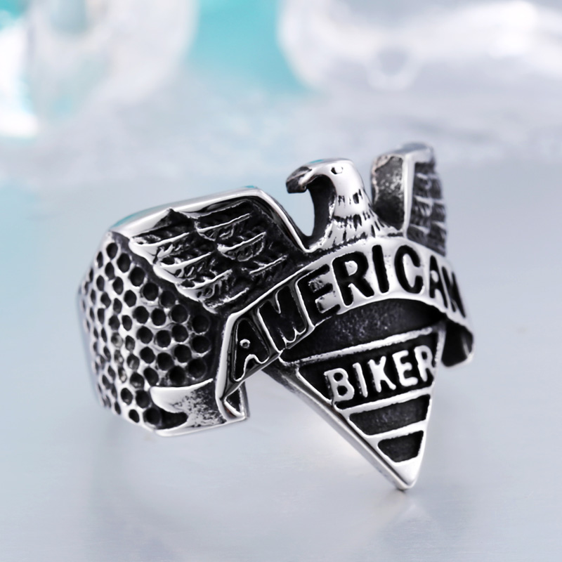 New Arrivals Rings Men In Ring Punk Carving Letters Stainless Steel Eagle Biker Rings For Man High Quality Male Jewelry BR8-206