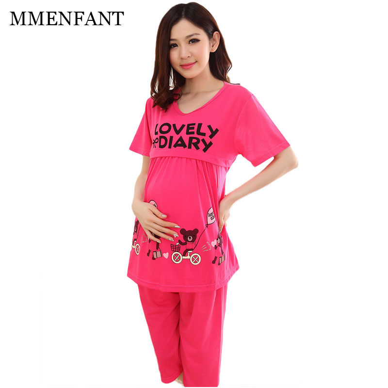 Maternity clothes sets 2017 summer Pregnant Women Nursing Clothes Short Sleeve Breast Feeding Dress Maternity Clothes 3 color