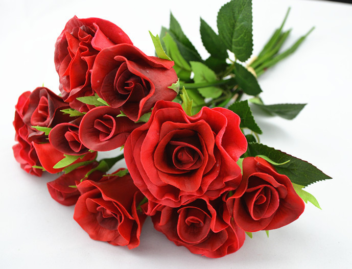 NEW!! Free shipping real touch/natural touch roses wedding bouquets ...