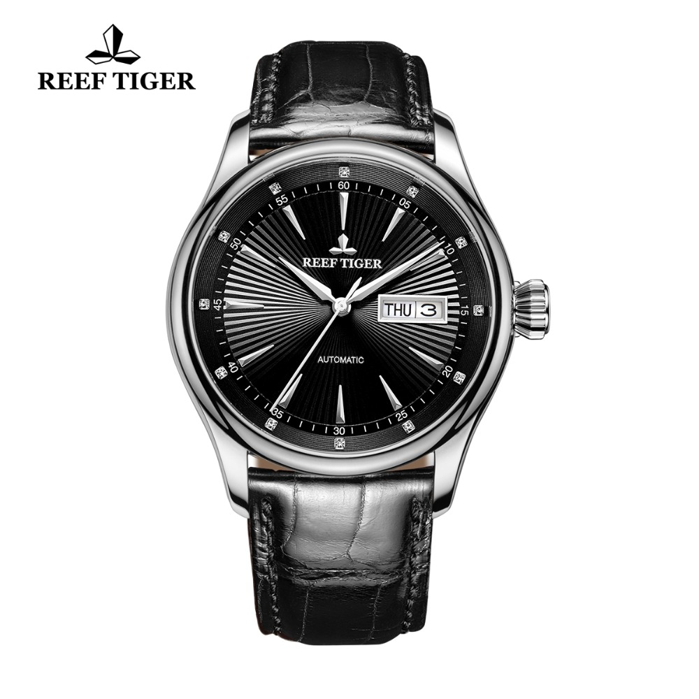 2017 Reef Tiger/RT Mens Dress Watch with Date Day 316L Steel Calfskin Strap Watches Automatic Watches RGA8232 вьетнамки reef day prints palm real teal