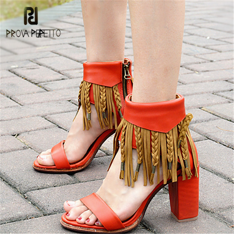 Prova Perfetto 2018 New Summer Genuine Leather Women Sandals Fringed Chunky High Heel Shoes Woman Ankle Wrap Sexy Women Pumps 2017 new ankle wrap rhinestone high heel shoes woman abnormal jeweled heels gladiator sandals women pvc padlock sandals shoes