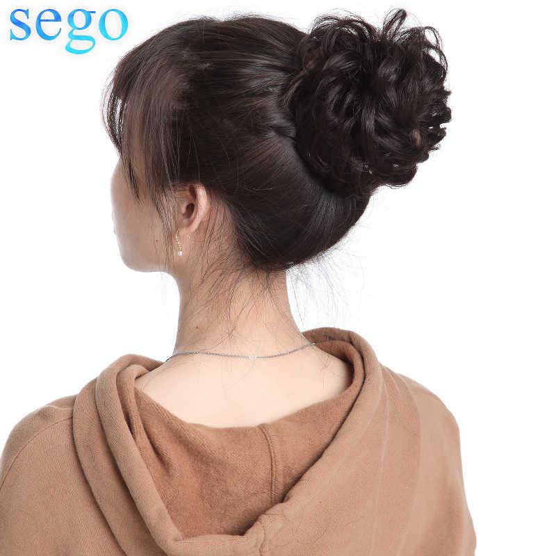 Sego 23G 100% Rambut Manusia Asli Keriting Sanggul Palsu untuk Wanita Alami Warna Tidak Remy Donat Ekstensi Ekor Kuda brasil Rambut