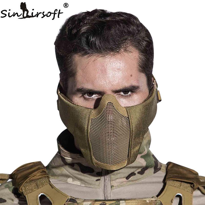 SINAIRSOFT Tactical Airsoft Capacete Máscara Meia Face Inferior De Aço do  Metal Líquido Caça Protecção prop para a Festa de Paintball Máscara CS a32e6f36d5