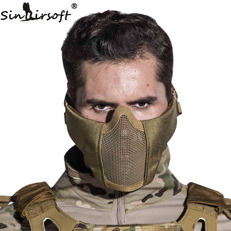 SINAIRSOFT тактикалық Airsoft маска дулыға Half Lower Face Metall Steel Net Hunting Paintball Party Mask CS үшін қорғағыш қорғаныс