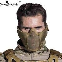 SINAIRSOFT Tactical Airsoft Maska Kask Pół Niższe Twarzy Metal Stal prop dla Paintball Polowanie Ochronne Netto Party Maska CS