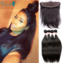 Straight Hair With Closure 4 Bundles Malaysian Virgin Human Hair With Closure Cheap Lace Frontal Closure With Bundles
