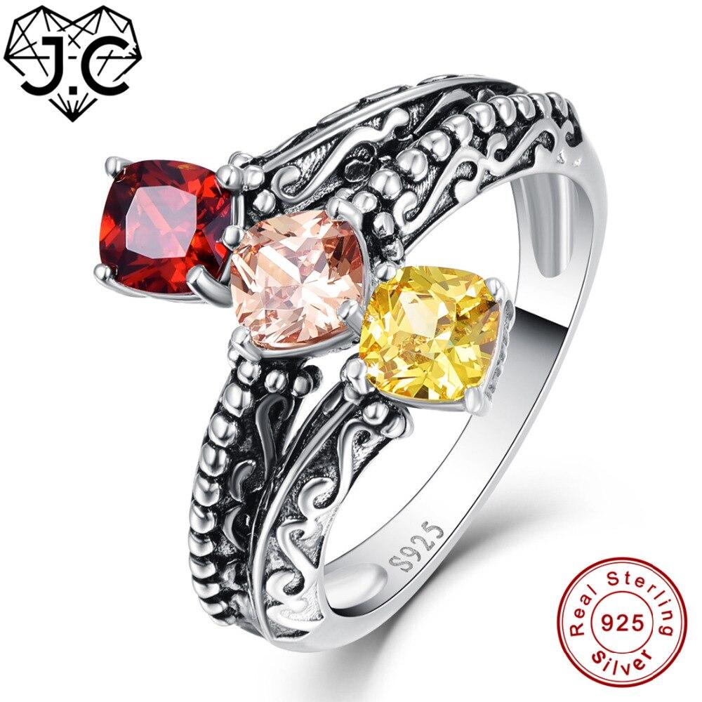 925 Sterling Silver Red Garnet Citrine Between The Finger Ring For Women