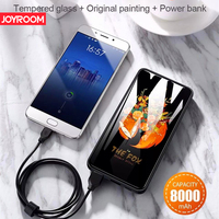 Joyroom 8000mAh power bank Tempered glass art painting cute Portable Polymer battery bateria externa For Mobile Phone Tablet