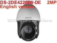 Free Shipping English Version DS 2DE4220IW D2MP H 265 20X Network IR PTZ P2p Camera 100m