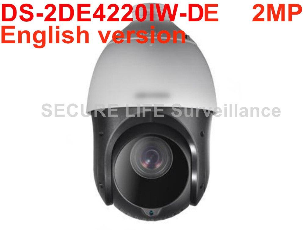 Free shipping English version DS-2DE4220IW-DE 2MP H.265 20X Network IR PTZ p2p camera 100m IR POE cctv camera hikvision ds 2de4220iw d english version outdoor 2mp ip camera ptz h 265 camera with ir 100m support ezviz p2p poe ip66