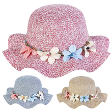Kids Hats Flower Breathable Summer Baby Straw Sun-Hat Girls Caps Floral-Ruffle Toddler
