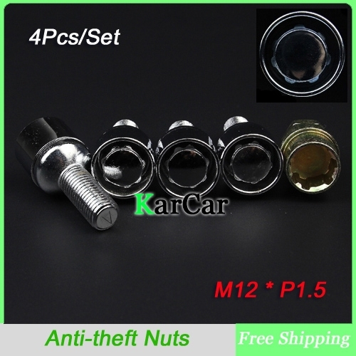 Super Safety! M12 x 1.5 Anti theft Wheel Locking Lug Nuts with Security Key, Alloy Steel Car Wheel Screw Closed End Nut Silver