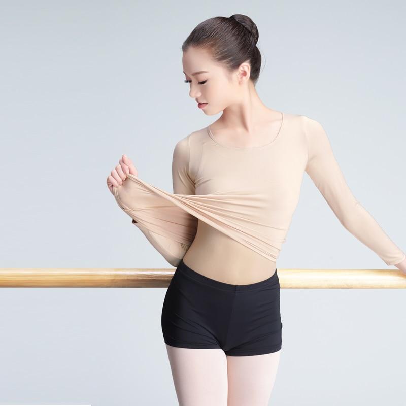 Professional Nude High Elastic Dance Underwear Adult Girls Women Gymnastics/Ballet Dance Skin Color Tops Long Sleeve