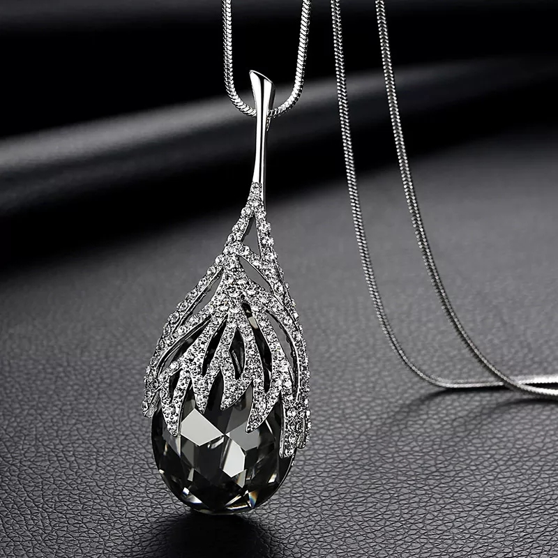 SINLEERY Fashion Waterdrop Shaped Big Pendant Necklace With Blue Cubic Zirconia
