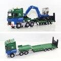 38 aleación modelo de remolque de camión de transporte plana máquina de explotación minera cinturón semi remolque de tractor de juguete