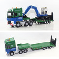 38 alloy transport truck flat trailer model belt mining machine semi trailer tractor toy