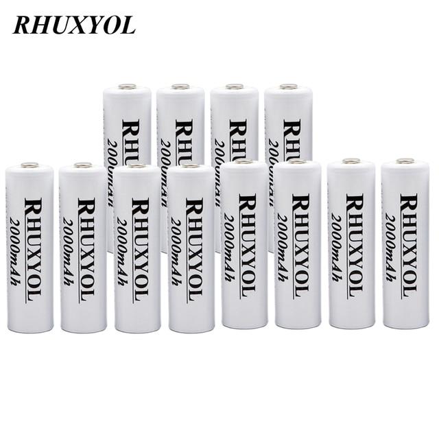 12pcs rhuxyol 2000 мАч батареи AA NiMH 1.2 В Перезаряжаемые Ni-MH Батарея 2A ячейки Bateria recargable Пилас recargables VS GP AA