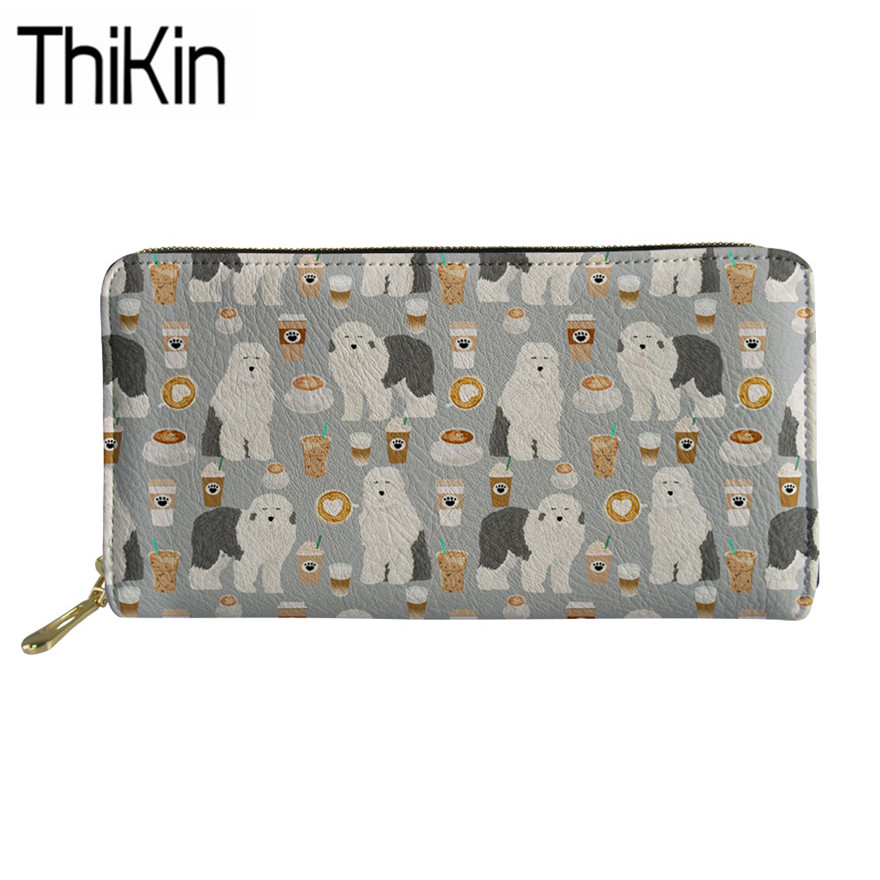 Thikin Wallet&purse Women Cute Old English Sheepdog Printing Luxury Money Bags Ladies Clutch Card Holders For Females Coin Pouch