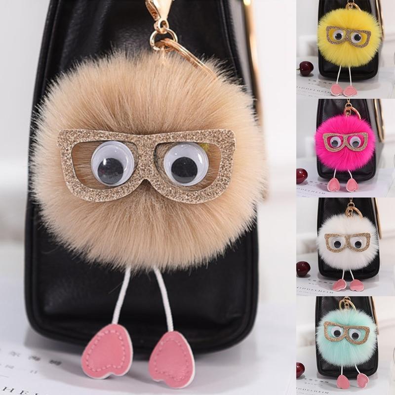 c37964a260 Detail Feedback Questions about Soft Cute Faux Rabbit Fur Ball Pom Pom  Glasses Car Pendant Handbag Key Ring Chain Women Girl on Aliexpress.com