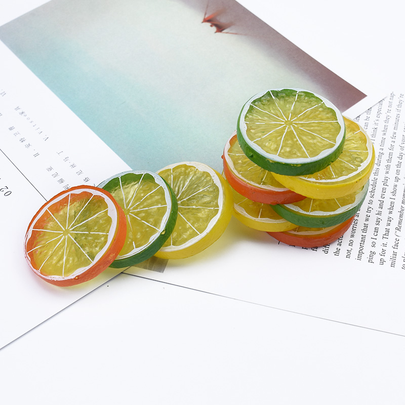 6pcs Artificial Fruit Scrapbook Christmas Decoration For Home Diy Gifts Box Fridge Sticker Pompon Cheap Fake Plants Lemon Slices