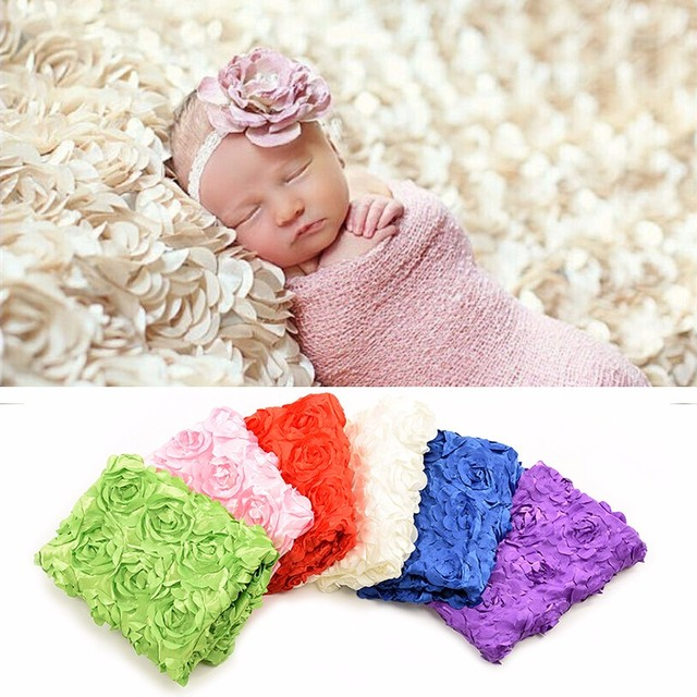 Newborn photo prop cheesecloth newborn wrap 3d rose photography background cloth baby photo studio shooting blankets