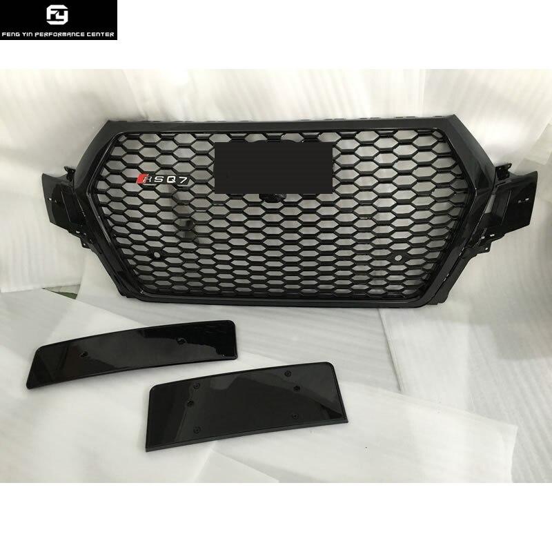 Tous les noir Racing Grills Q7 RSQ7 style ABS Nid D'abeille Auto pare-chocs Avant Grill pour Audi Q7 SQ7 S-ligne RSQ7 2016UP