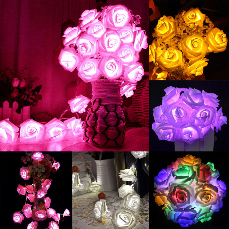 3m 20 LED Rose Flower Floral Romantic Fairy Wire String Lights Chains for Garden Party Christmas Tree Garland Wedding Decoration