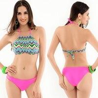 2017 Sexy High Neck Bikini Bandage Swimwear Cut Out Swimsuit Retro Halter Bikini Set Brazilian Printed