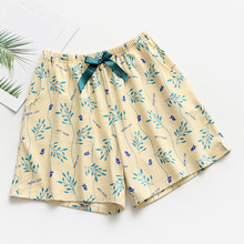 Women's Summer Sleep Bottoms Japanese Floral Cotton Pajama Shorts Home Loose Paj