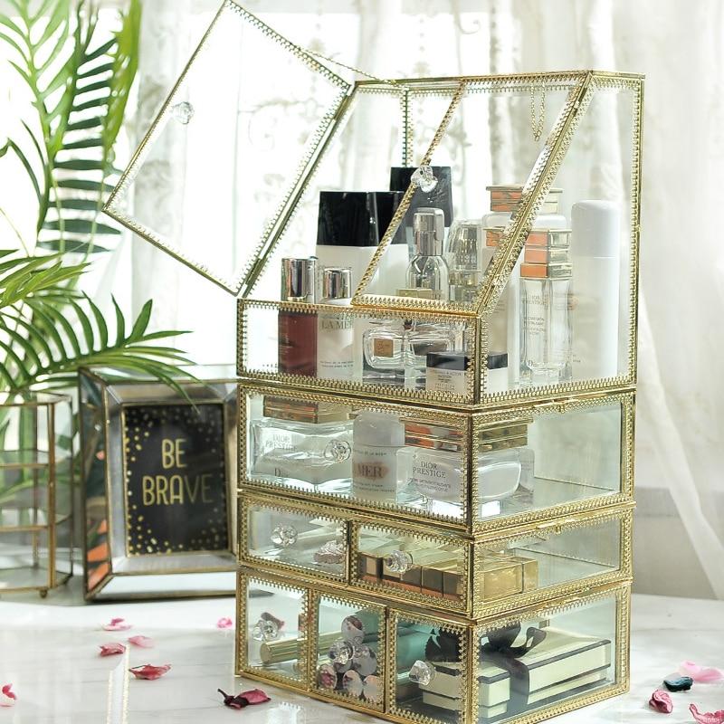 Glass Luxury Transparent Makeup Organizer Lipstick Cosmetic Storage Box Make Up Organizer Desktop Drawers Organizer Girl