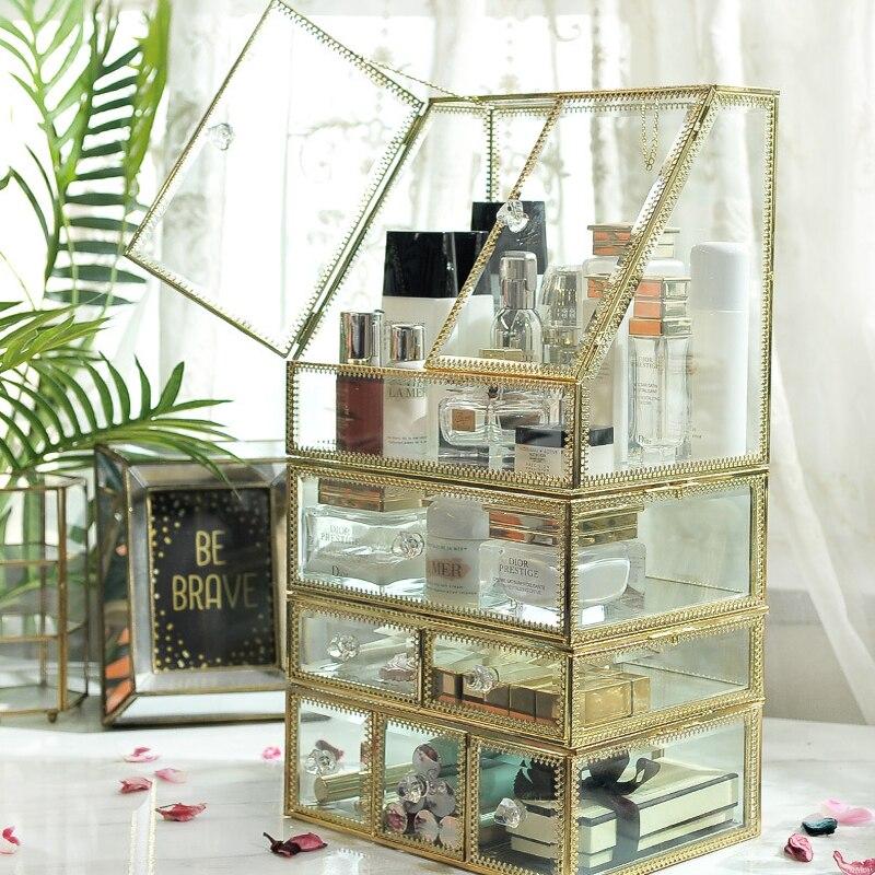 ガラスの高級透明メイクアップオーガナイザー口紅化粧品収納ボックスを構成するオーガナイザーデスクトップ引き出しオーガナイザーガールギフト  グループ上の ホーム&ガーデン からの 収納ボックス & ビン の中 1