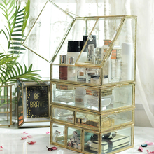 Glass Luxury Transparent Makeup Organizer Lipstick Cosmetic Storage Box Make Up Organizer Desktop Drawers Organizer Girl Gift