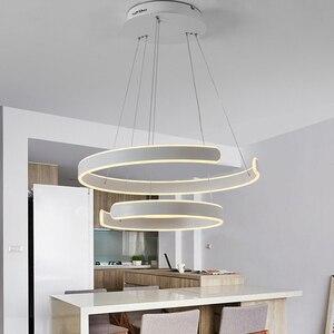 Image 2 - AC90 264VModern pendant lights for living room dining room Geometry Circle Rings acrylic aluminum body LED Lighting ceiling Lamp