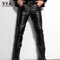 Лидирующий бренд Для мужчин панк Пояса из натуральной кожи тонкий Узкие брюки большой Размеры 29 36 Повседневное Мотоцикл Байкер ветрозащитн
