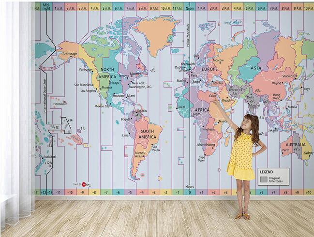 Custom papel de parede infantil world time zone map for children custom papel de parede infantil world time zone map for children room sofa tv wall waterproof vinyl papel de parede in wallpapers from home improvement on gumiabroncs Images