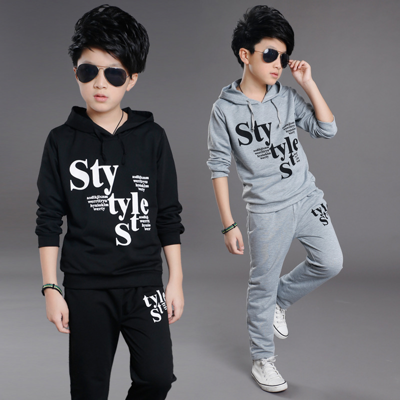 4 6 8 10 12 14 Years Boys Sports Suits Cotton Hooded Letter Clothing Sets For Boys Tracksuits 2017 Spring Autumn Kids Outfits