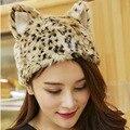 2016 de Invierno Nuevo Patrón Coreano Lovely Imitar Cuero de Pelo de Conejo y Sombreros De Piel Orejas de Gato de Color Sólido De Cuero Y Pieles sombreros
