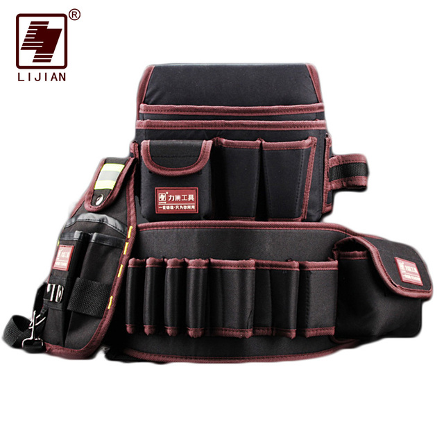 LIjian tool bagTelecommunications Holder Electrician 600D Water proof Cloth Rivet fixed Tool Bag Belt Utility Kit Pocket Pouch