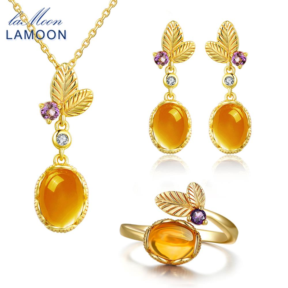 LAMOON 100 Natural Citrine Gemstone Set Jewelry For Women Classic Flower S925 Sterling Silver Yellow Stone