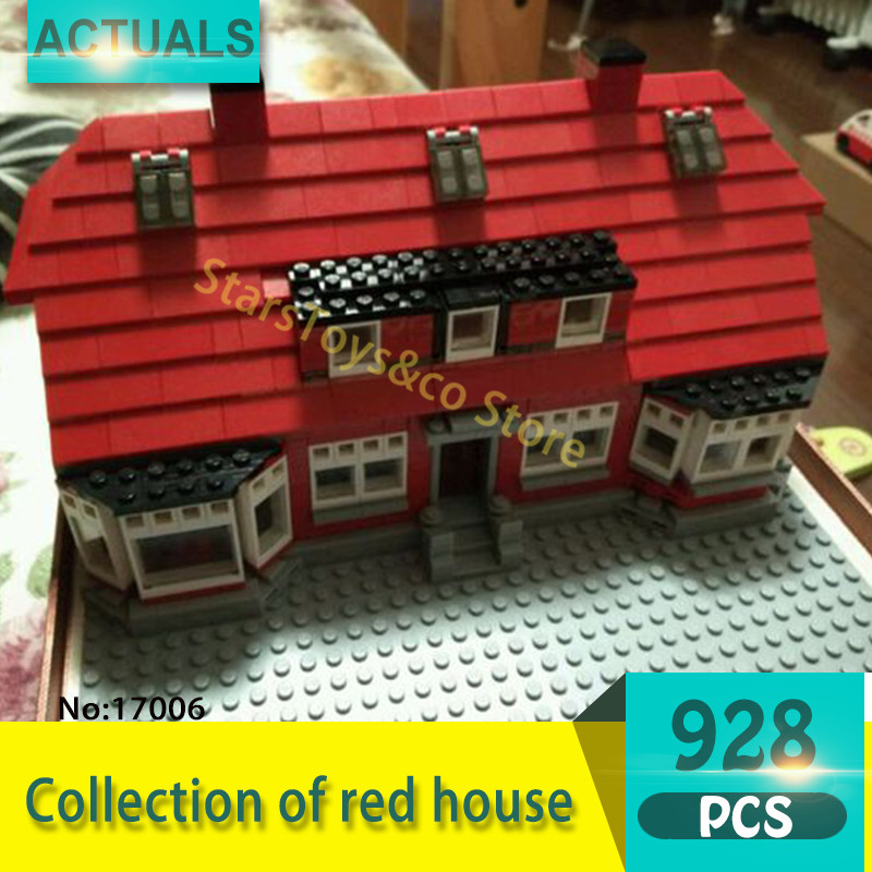 17006 928Pcs Street View series Collection of red house Model Building Blocks Set  Bricks toys For Children Gift 4000007 luxury gift blue mosque 3d puzzles model big building construction toys max level iq game huge house decoration collection model